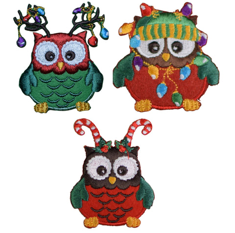 Christmas Owls Applique Patch - String of Lights, Antlers, Candy Cane (3-Pack, Iron on)