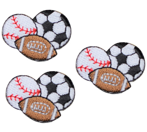 Baseball, Football, and Soccer Sports Balls Applique Patch (3-Pack, Small, Iron On)