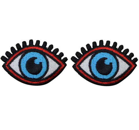 "Blue Eyes Applique Patch - Eye Lashes 1-7/8"" (2-Pack, Iron on)"