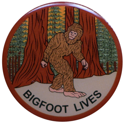 Bigfoot Lives Pin - Sasquatch in the Forest, Epoxy Coated, Made of Metal, Rubber Backing