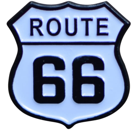 Route 66 Pin - Highway Sign, Made of Metal, Rubber Backing