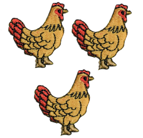 Farmhouse Chicken Hen Applique Patch (3-Pack, Iron on)