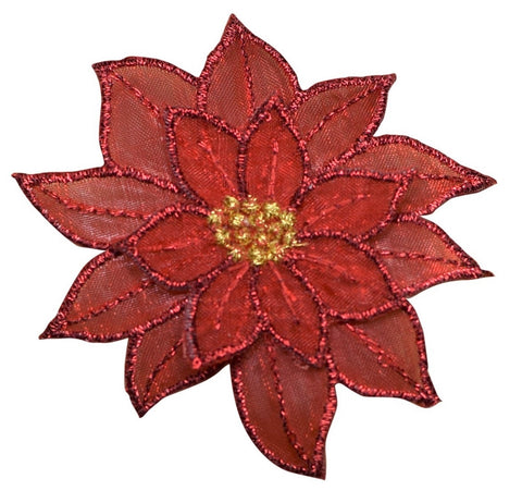 "Poinsettia Applique Patch - Christmas Flower Badge 2-7/8"" (Iron on)"