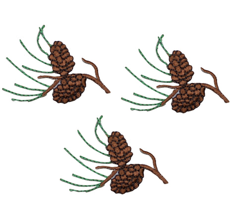 Pine Cones and Needles Applique Patch - Evergreen Tree (3-Pack, Small, Iron on)