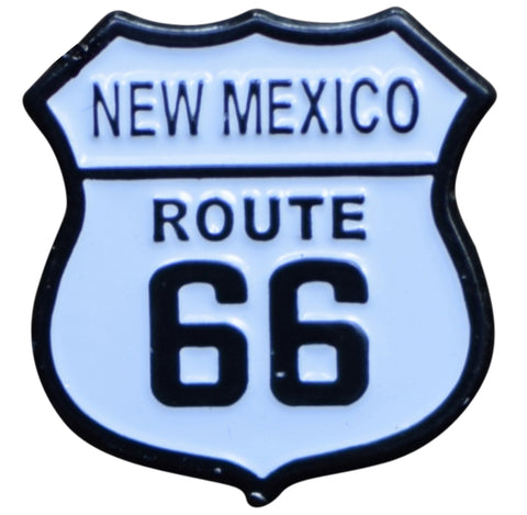 New Mexico Route 66 Pin - NM Highway Sign, Made of Metal, Rubber Backing