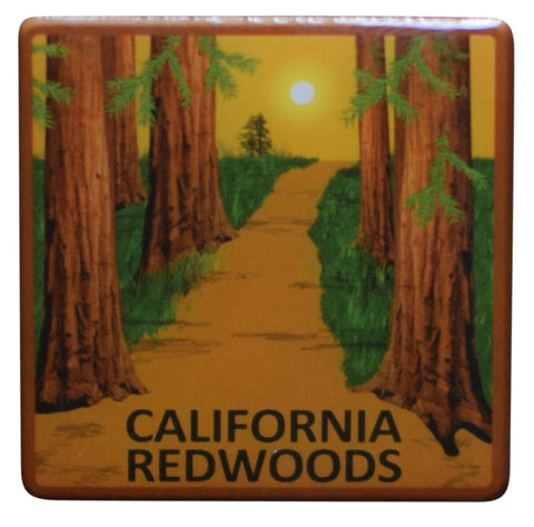 California Pin - Redwoods, Epoxy Coated, Metal, Rubber Backing 1.25""