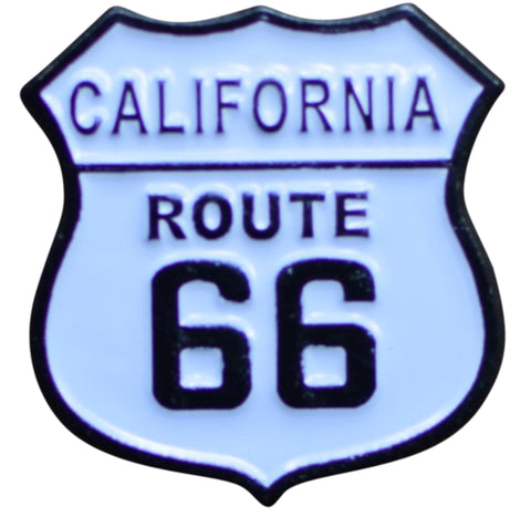 California Route 66 Pin - CA Highway Sign, Made of Metal, Rubber Backing