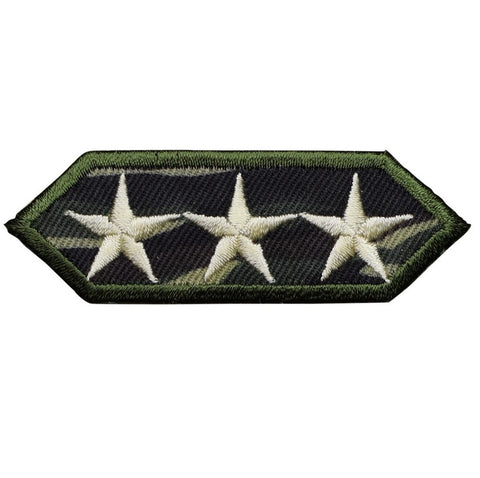"Military Applique Patch - Camouflage, Camo, 3 Stars Badge 2-7/8"" (Iron on)"