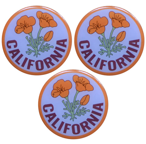 "California Pin -  Poppy, Epoxy Coated, Metal, Rubber Backing 1.25"" (3-Pack)"
