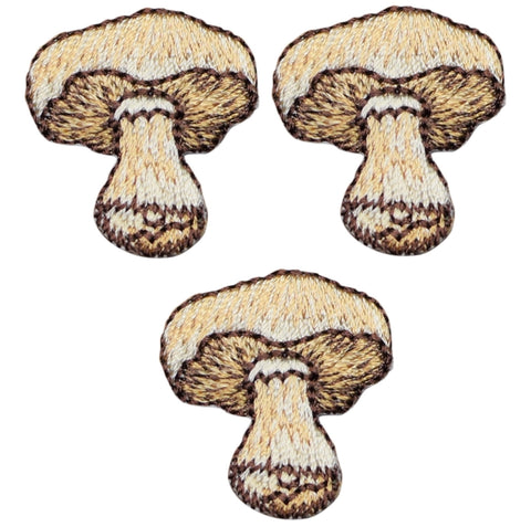 Brown Mushroom Applique Patch - Fungus, Mushrooms (3-Pack, Small, Iron on)