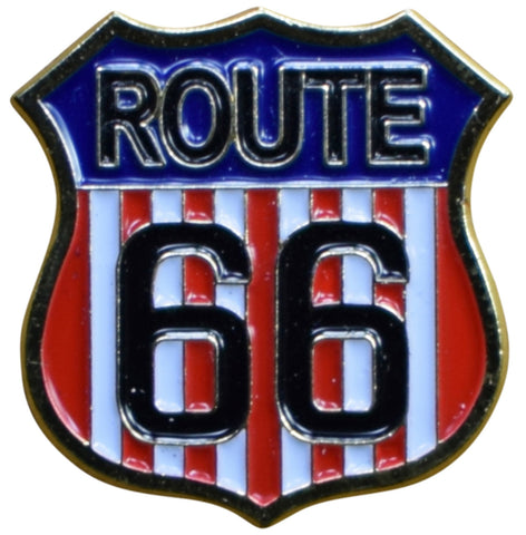 American Flag Route 66 Pin - USA Red, White, and Blue Highway Sign, Made of Metal, Rubber Backing