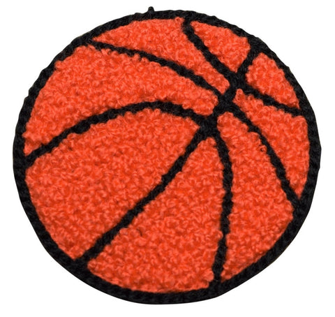 "Chenille Basketball Applique Patch - Letterman Jacket, Sports Badge 2-3/8"" (Iron on)"