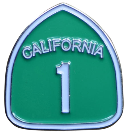 California Highway 1 Pin - CA Road Sign, Made of Metal, Rubber Backing