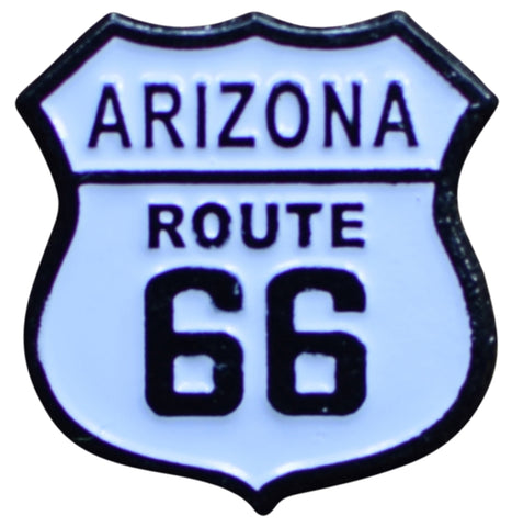 Arizona Route 66 Pin - AZ Road Sign, Made of Metal, Rubber Backing