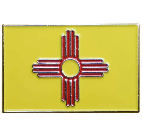 New Mexico Flag Pin - NM Land of Enchantment, Made of Metal, Rubber Backing
