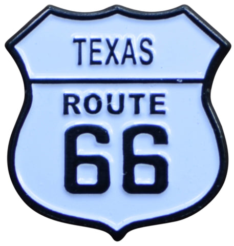 Texas Route 66 Pin - TX, Highway Sign, Made of Metal, Rubber Backing