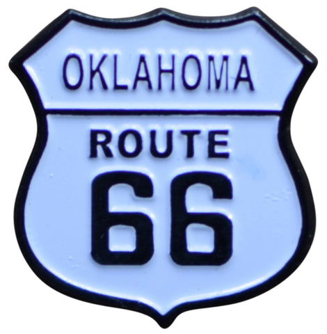 Oklahoma Route 66 Pin - OK, Highway Sign, Made of Metal, Rubber Backing