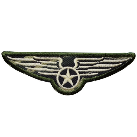 "Military Applique Patch - Camouflage, Camo, Wings, Pilot Badge 4"" (Iron on)"