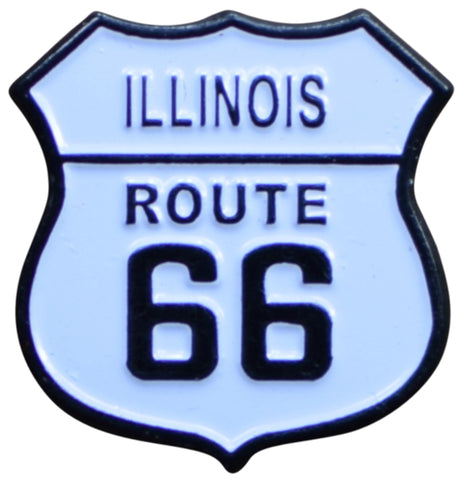 Illinois Route 66 Pin - IL, Highway Sign, Made of Metal, Rubber Backing