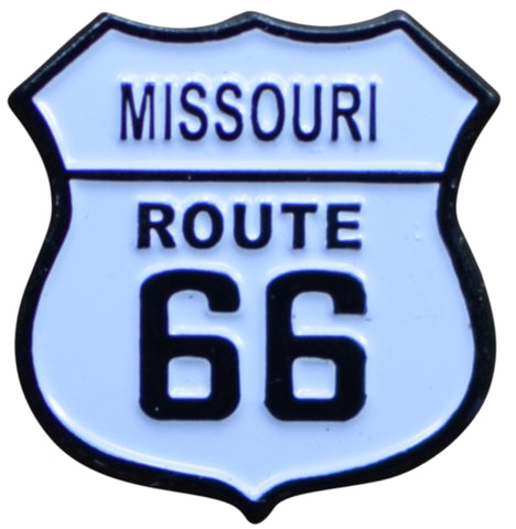 Missouri Route 66 Pin - MO, Highway Sign, Made of Metal, Rubber Backing