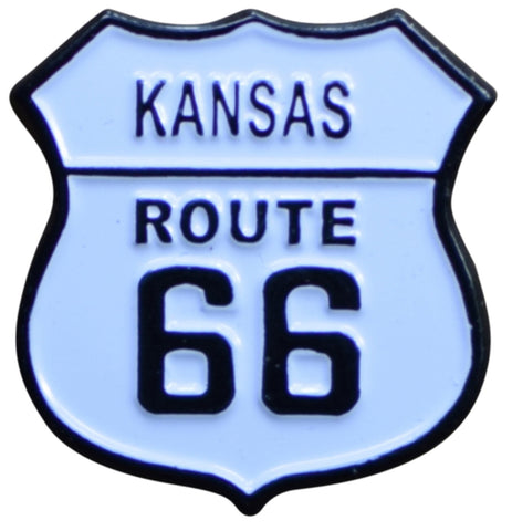 Kansas Route 66 Pin - KS, Highway Sign, Made of Metal, Rubber Backing