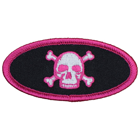 "Skull and Crossbones Patch - Pink/Black 3"" (Iron on)"