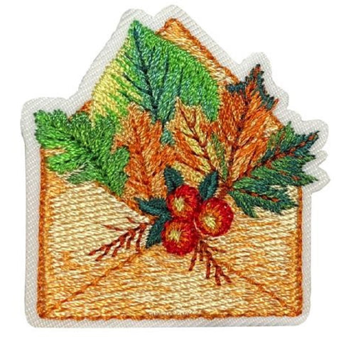 "Autumn Applique Patch - Berries, Envelope, Leaves, Fall Badge 1-5/8"" (Iron on)"