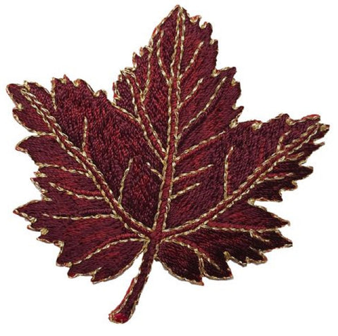 "Autumn Fall Leaf Applique Patch - Dark Maple Leaf 2-3/8"" (Iron on)"