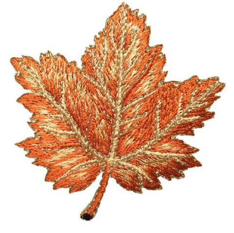 "Autumn Fall Leaf Applique Patch - Brown and Tan Maple Leaf 2-3/8"" (Iron on)"