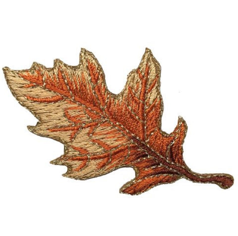 "Autumn Fall Leaf Applique Patch - Tan and Brown Oak Leaf 2-7/8"" (Iron on)"