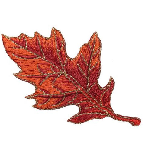"Autumn Fall Leaf Applique Patch - Orange Oak Leaf 2-7/8"" (Iron on)"