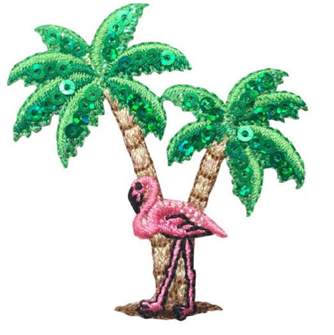 "Flamingo Palm Trees Applique Patch - Tropical Pink Waterfowl Bird 2.25"" (Iron on)"