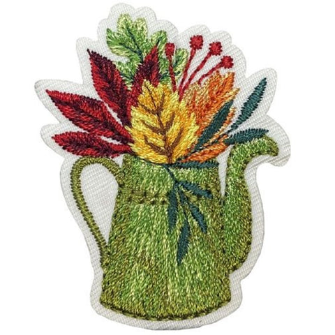 "Autumn Applique Patch - Watering Can, Leaves, Fall Badge 1-7/8"" (Iron on)"