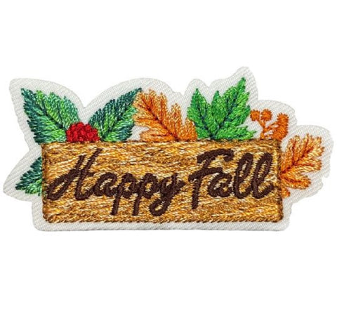 "Autumn Applique Patch - Berries, Wood Sign, Leaves, Fall Badge 2-3/8"" (Iron on)"