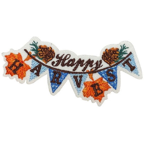 "Autumn Applique Patch - Happy Harvest, Leaves, Fall Badge 2-3/8"" (Iron on)"