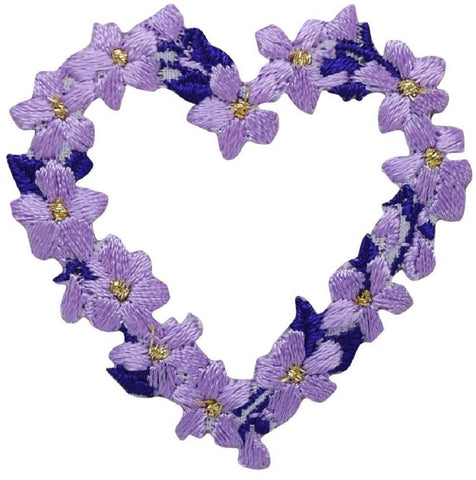 "Heart of Flowers Applique Patch - Purple, White Blooms, Love 1-7/8"" (Iron on)"