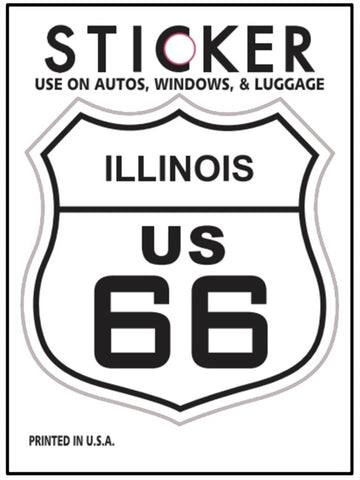 "Illinois Route 66 Vinyl Sticker - IL Road Sign, Fade Resistant, 2.625"" wide x 2.75"" tall"