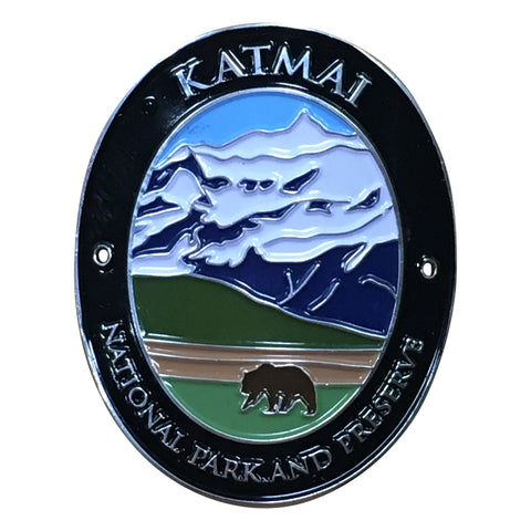 Katmai National Park Walking Hiking Stick Medallion - Official Traveler Series - Alaska