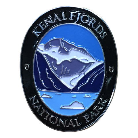 Kenai Fjords National Park Walking Hiking Stick Medallion - Official Traveler Series - Alaska