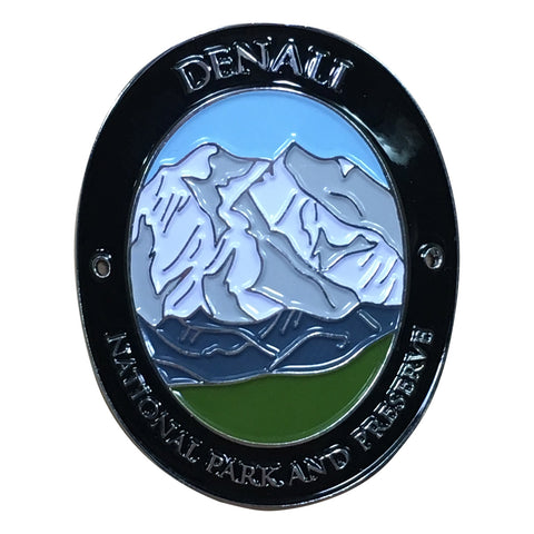 Denali National Park and Preserve Walking Hiking Stick Medallion - Official Traveler Series - Alaska