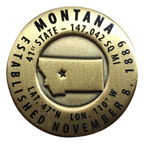 Montana Geo-Marker Pin - Est. 1889 41st State, Hiking Benchmark Medallion, Survey Marker