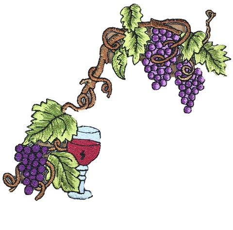 "Large Grapevines and Glass of Wine Patch Applique (Almost 6"" Long, Iron on)"