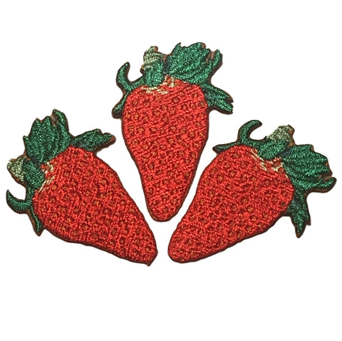 Ripe Red Strawberries Applique Patch - Juicy Summer Berry (3-Pack, Medium, Iron on)