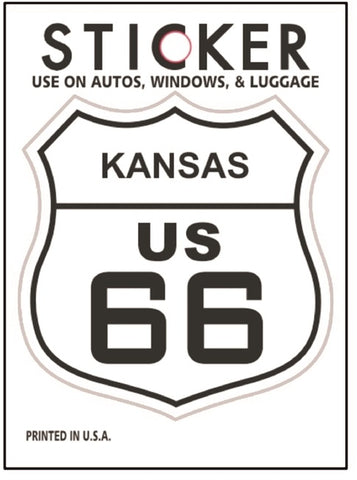 "Kansas Route 66 Vinyl Sticker - KS Road Sign, Fade Resistant, 2.625"" wide x 2.75"" tall"