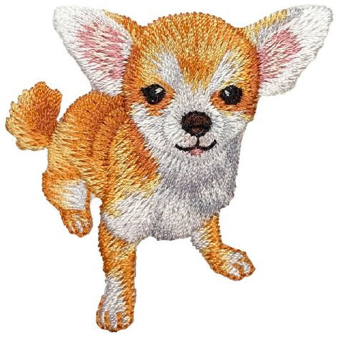 "Chihuahua Applique Patch - Dog, Puppy Badge 2-1/8"" (Iron on)"
