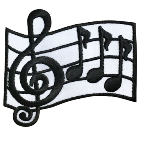 "Music Applique Patch -  Bar, Measure, Treble Clef, Quarter Note 2.75"" (Iron on)"