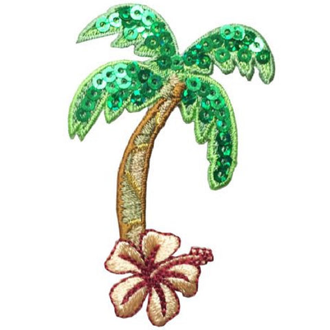"Palm Tree Hibiscus Applique Patch - Tropical Flower 2.5"" (Iron on)"