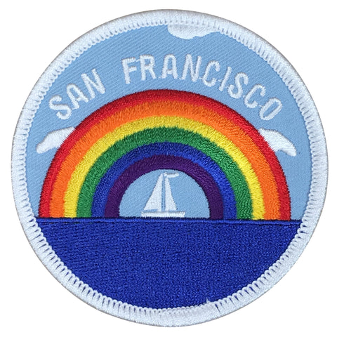San Francisco Patch - Sailboat and Rainbow, California (Iron on)