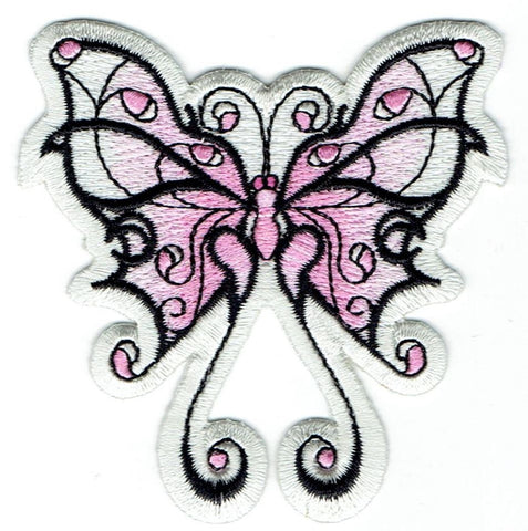 "Butterfly Applique Patch - Tribal Tattoo Design, Insect Badge 3-1/8"" (Iron on)"