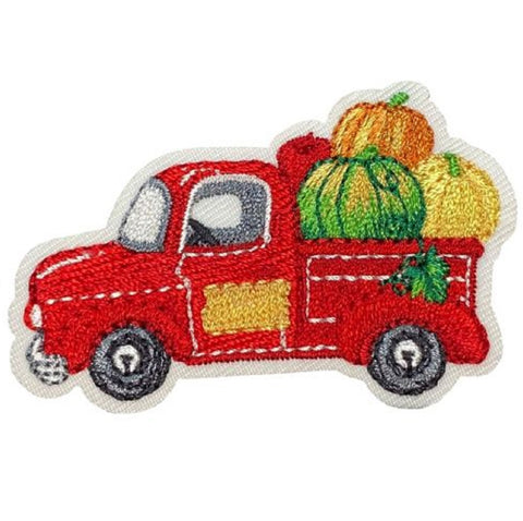 "Autumn Applique Patch - Red Truck, Harvest, Gourds, Fall Badge 2-1/8"" (Iron on)"